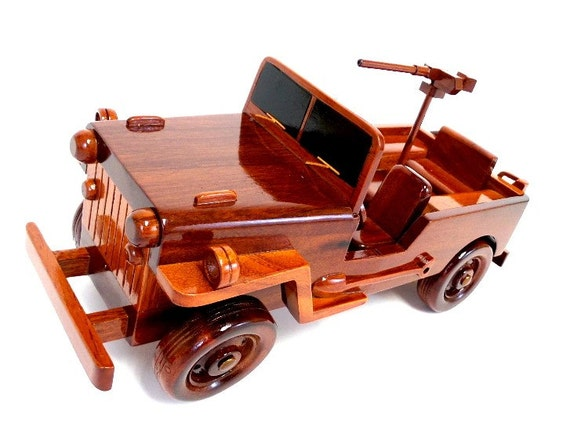 Willys Jeepster Wood Ornament Engraved