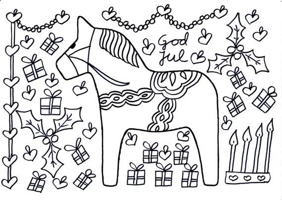 Art therapy, adult coloring sheet, a christmas dalahorse, swedish dalahorse, dalahäst