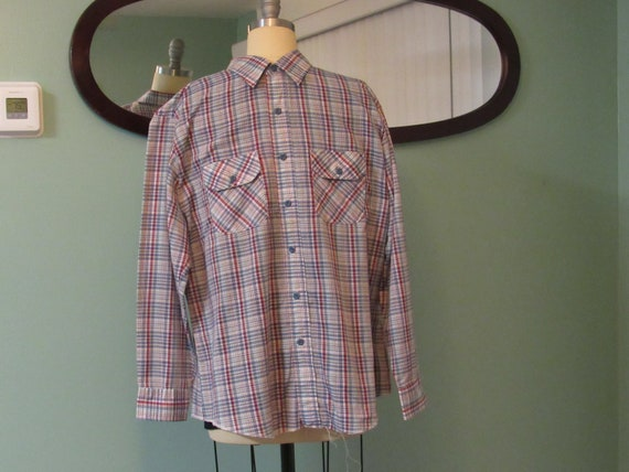 Vintage 70\u2019s Lady Wrangler Polka Dot Plaid Button Up