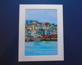 A4 Harbour scene Giclee art print plus mount