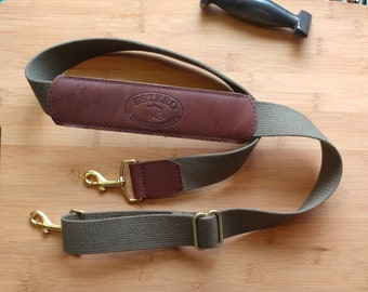 """NEW !!!Adjustable Replacement shoulder strap.Full grain leather and heavyweight pure cotton 1&1/2"""" webbing with solid brass hardware"""