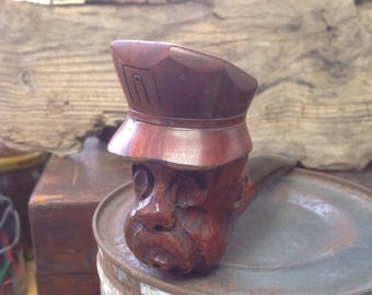 Vintage smoking pipe,carved wood pipe, briar, Italy, sailor, railroad, captain, man, hat , smoking, tobacco, collectible, gift for men