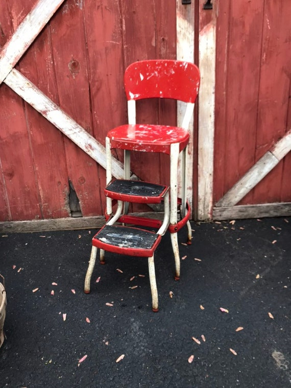 Amazing Vintage Metal Step Stool Chair Utility Stool Chair Red And White Laundry Decor Kitchen Decor Porch Decor Forskolin Free Trial Chair Design Images Forskolin Free Trialorg