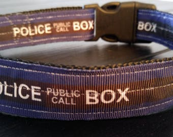 Doctor Who Police Box Dog Collar, heavy-duty nylon adjustable