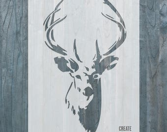 Deer with Antlers reusable STENCIL for home wall interior decor / reusable stencil
