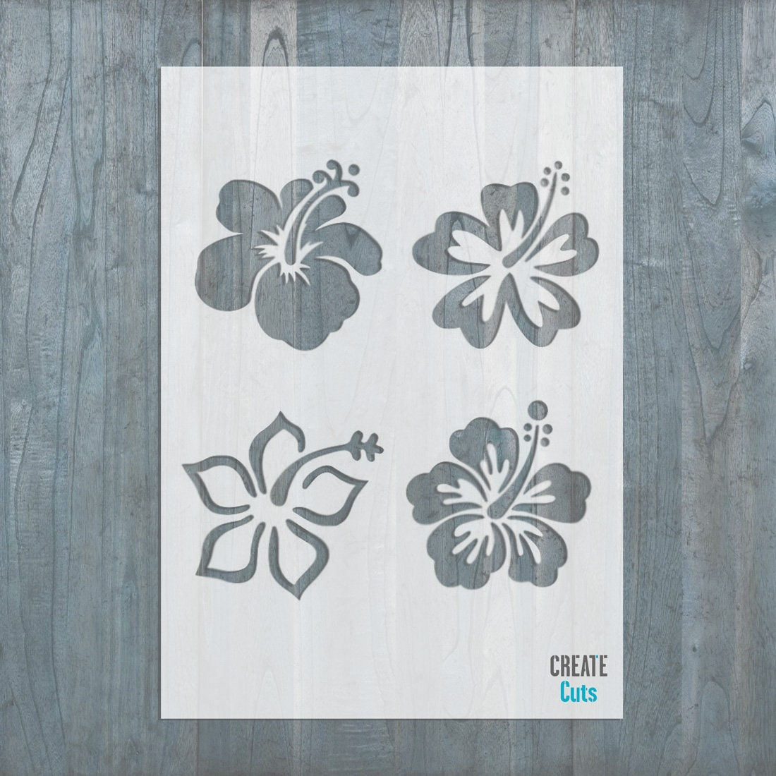 Hibiscus flower set of 4 reusable stencil for home room etsy zoom izmirmasajfo