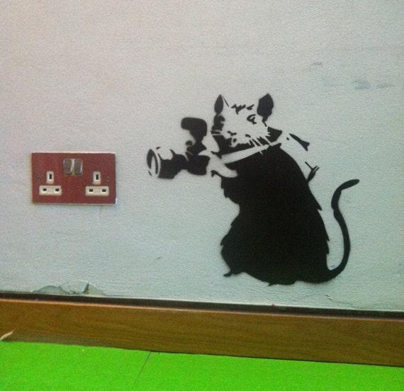Banksy Gangsta Rat reusable STENCIL for room interior decor  Not a decal