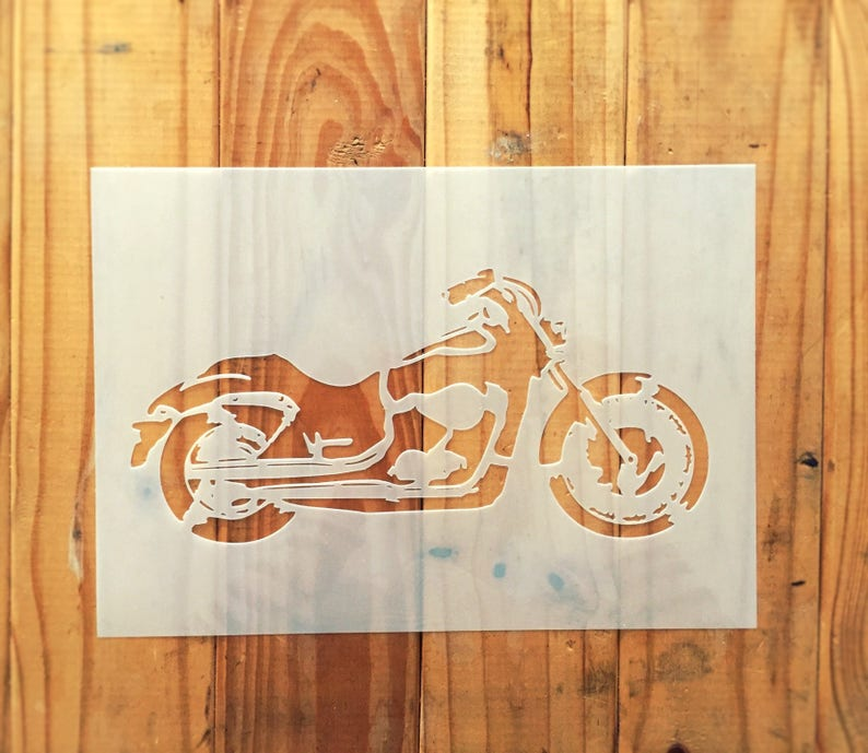 Harley Davidson Motorbike Stencil For Home Wall Interior Decor Etsy