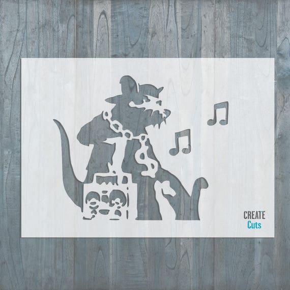 Banksy Music Rat STENCIL Ghetto Rat Wall Art Airbrushing Interior Decor
