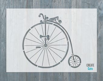 Vintage Retro Bicycle STENCIL High Wheeler Template Penny-Farthing