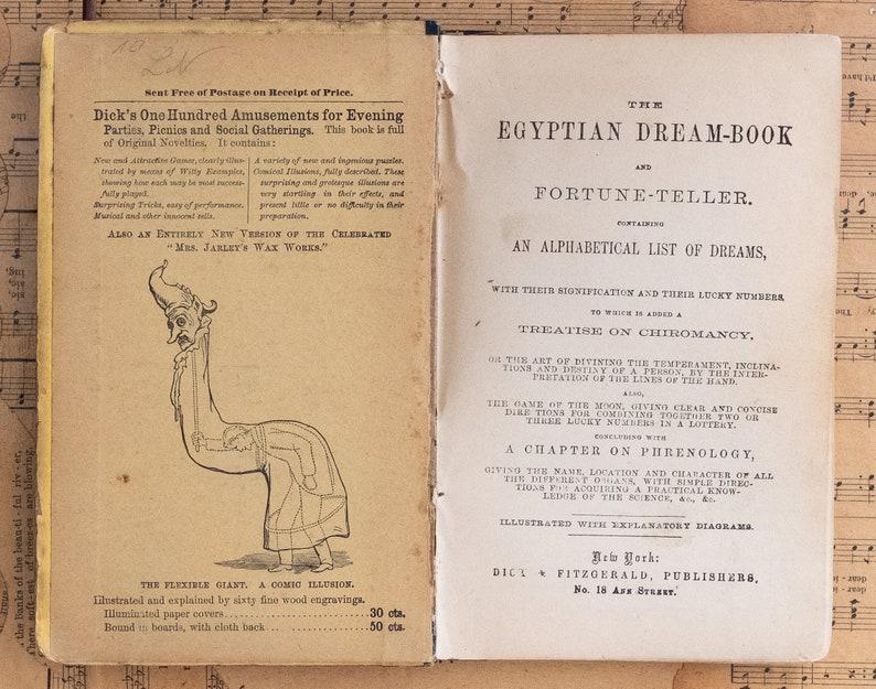 The Egyptian Dream Book and Fortune Teller  circa 1911 --RARE--