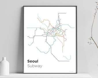 Eoul Subway Map.Seoul Subway Map Etsy