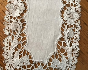 Table Runner or Dresser Scarves A or D Monogram Cutwork Lace Doilie