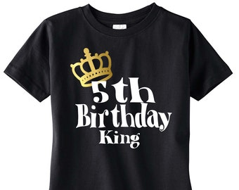 Boys 5th Birthday Shirt, Birthday Boy Shirt, Birthday King, Birthday Party, Birthday Outfit