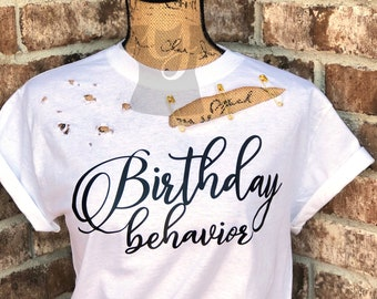Distressed Birthday Shirt For Women SELECT YOUR SAYING Safety Pin Unique