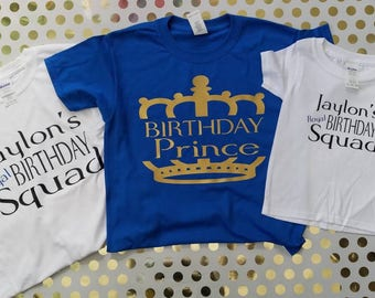 Birthday Party Shirts Boys Prince Shirt Squad Family Group Crew