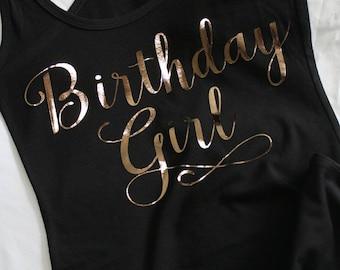 Birthday Tank, Birthday Girl Tank, Birthday Tank Top, Birthday Girl Tank, 21st Birthday Tank, Birthday Girl, Black and Rose Gold Shirt