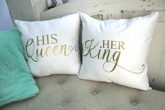 King And Queen Throw Pillows His And Hers Decorative Pillows Etsy Impressive King And Queen Decorative Pillows