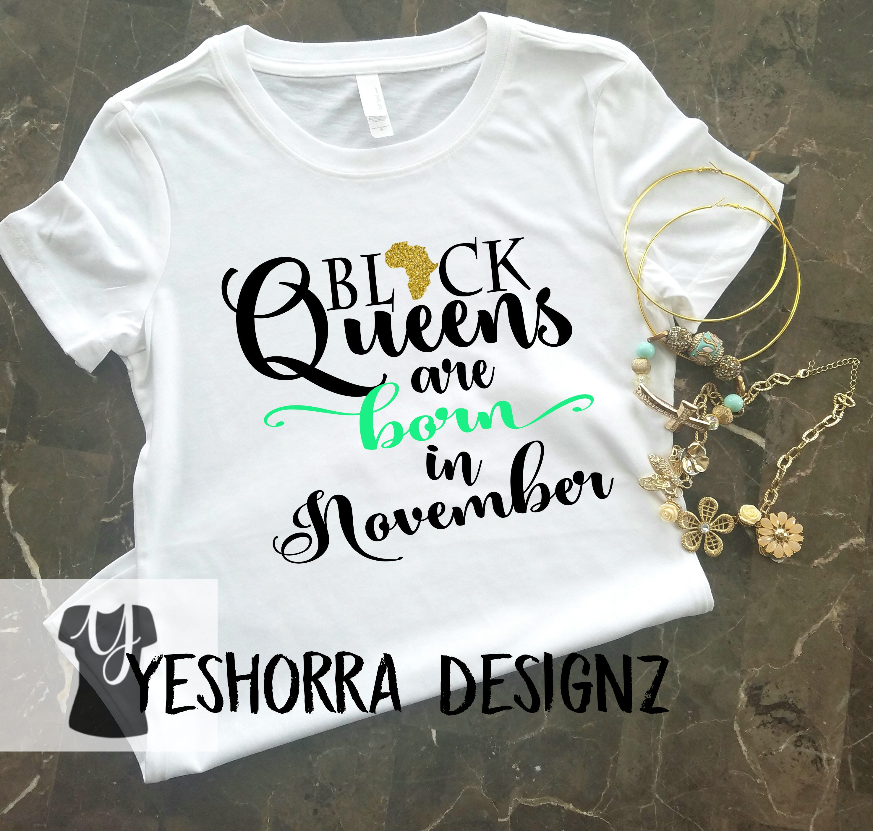 859af55f Black Queens are Born in November Birthday Queen Shirt | Etsy