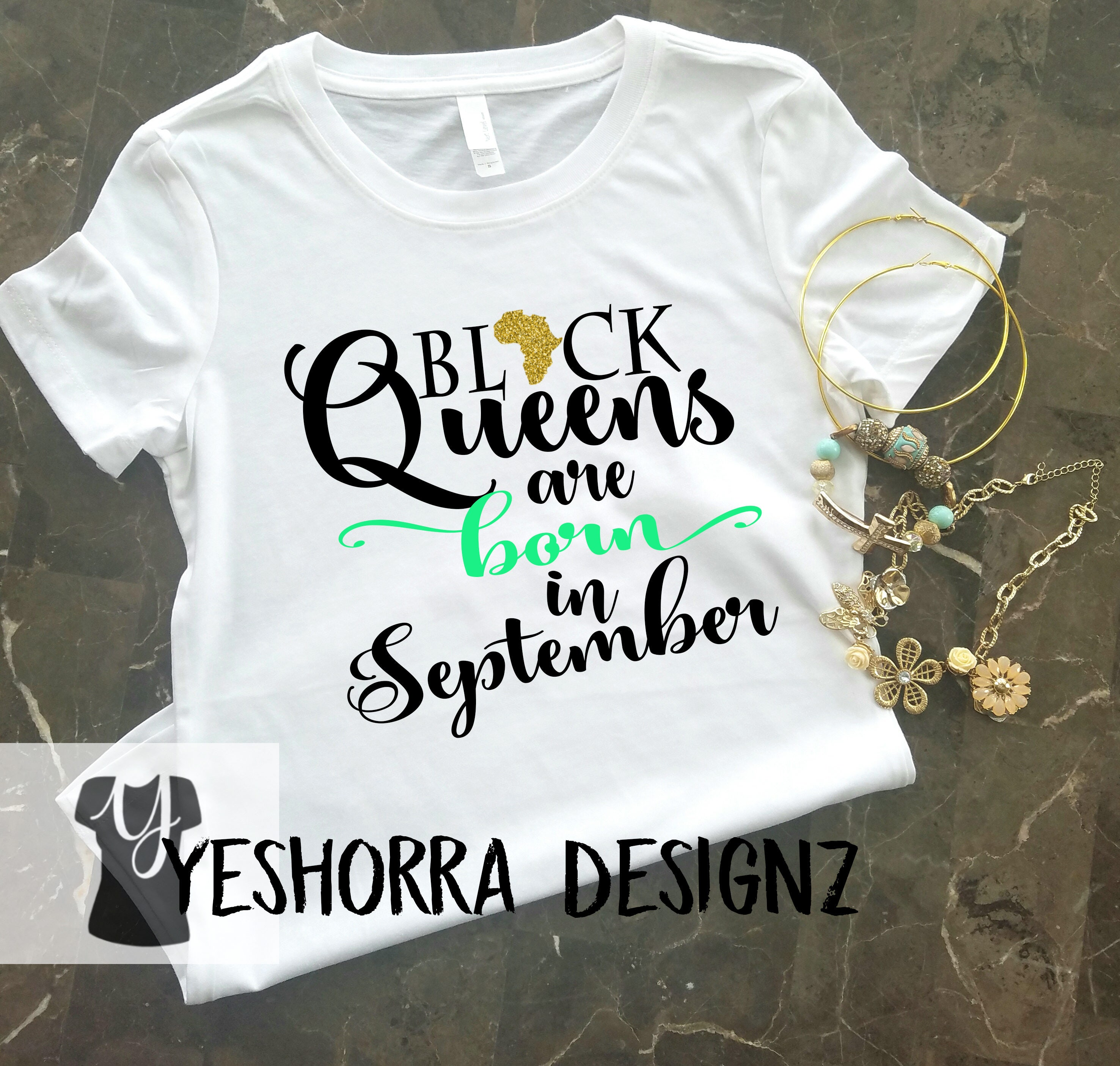 Black Queens Are Born In September Birthday Queen Shirt