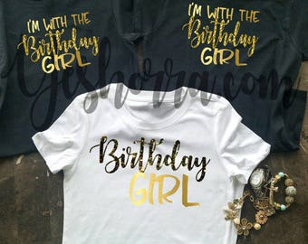 Birthday Group Shirts, Birthday Party Shirts, Birthday Shirt Women, Birthday Crew, Birthday Squad, I'm With The Birthday Girl