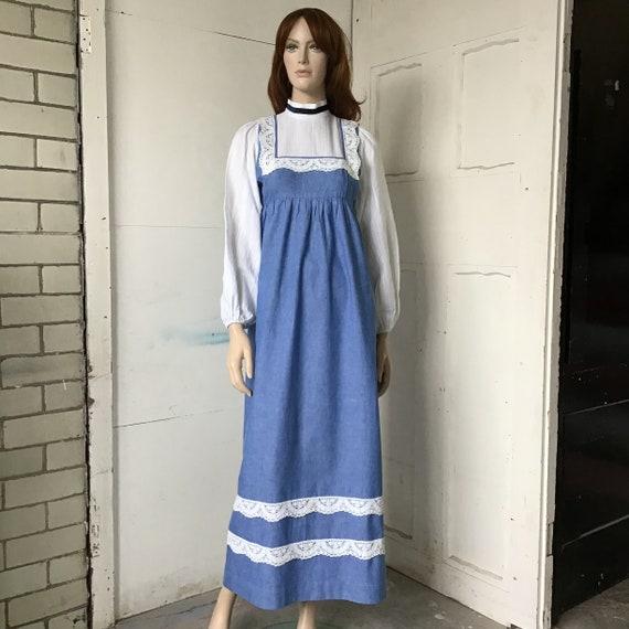 1970s - Marion Donaldson - Prairie dress - Blue ma