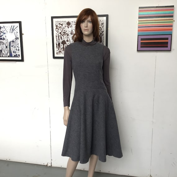 70s - Pure WOOL Jersey - PINAFORE Dress - Skater S