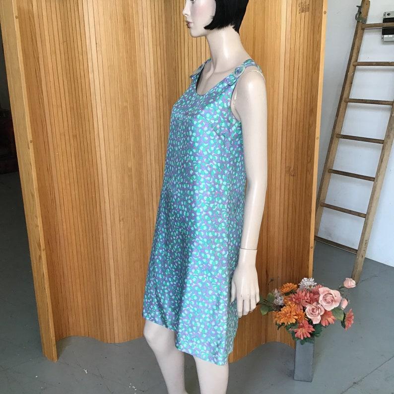 Pastel Print MOD Girl SHIFT dress Simple 60s SILKY Minidress