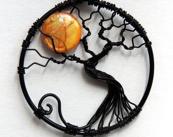 Dark Full Moon Tree of Life Pendant