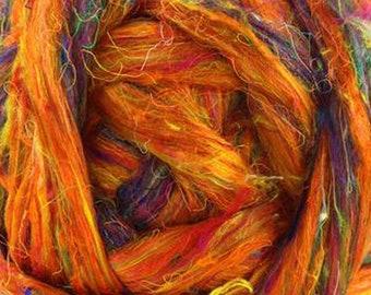 Recycled Sari Silk BEACH FIRE Orange Sari Silk Sliver/Roving