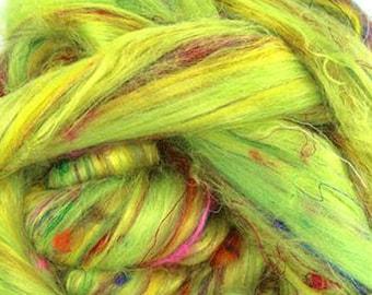 Custom Blend Silk Merino Bamboo Lime EQUINOX Roving