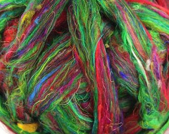 Recycled Sari Silk CARNIVAL Green and Red Sliver/Roving