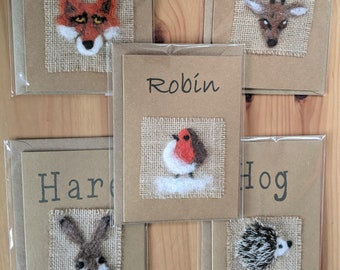 Needle Felted CARDS: Christmas Robin, Hedgehog, Fox, Deer and Hare