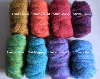 200g Tutti Frutti Corriedale Carded Fleece Mixed Bag