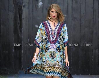 ba9edc1b4482 Kaftans Embellished Kimono Sleeves Cruise Wear Luxe Premium Designer Silk  SLP1025