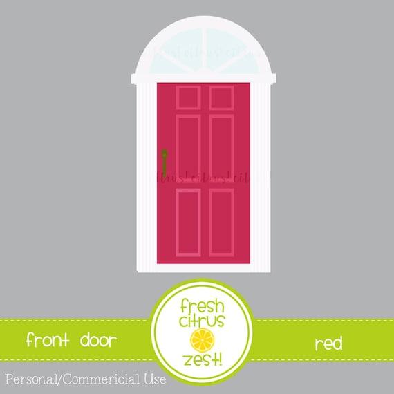Front Door Clip Art Pink Door With Transom Window Etsy