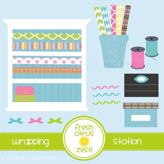 Sewing Room Gift Wrapping Room: Wrapping Paper Station Craft Room Clip Art