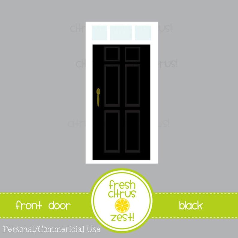 Haustür Clip Art schwarz Tür mit Oberlicht-Fenster