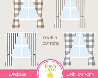 Window Clip Art Neutral Buffalo Plaid Ticking Stripe Curtains