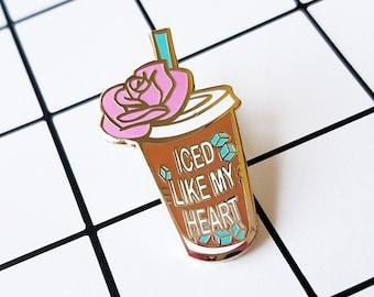 Iced Like My Heart Hard Enamel Lapel Pin Coffee Latte