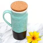 Tall ceramic travel mug with handle ~ large (20oz) to-go mug with cork lid ~ turquoise / teal blue and matte black glaze ~ wheel thrown clay