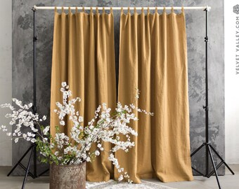 Linen Dusty Mustard Yellow Curtain Decor Softened Heavier Weight Heavy Honey