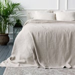 Linen bedspread- softened linen bed cover-rustic queen king size quilt-Pre washed not bleached linen coverlet-Softened linen throw quilt