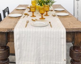 STRIPED linen table runner - natural linen table runner - light white beige table runner - handmade linen table runner