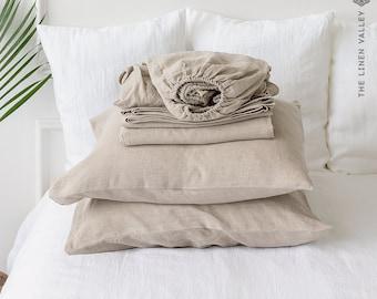 NATURAL UNBLEACHED linen set of sheets - 4 pieces linen bed sheet set - rustic linen fitted sheet, flat sheet &2 pillow cases