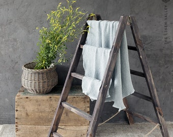 Special offer - Set of 2 DUSTY BLUE linen washcloths.  hand towels. Washcloth, hand towels. Waffle textured linen towels.