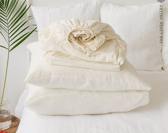 OFF WHITE set of linen sheets - Ivory white 4 pieces linen bed sheet set - cream white linen fitted sheet, flat sheet &2 pillow cases