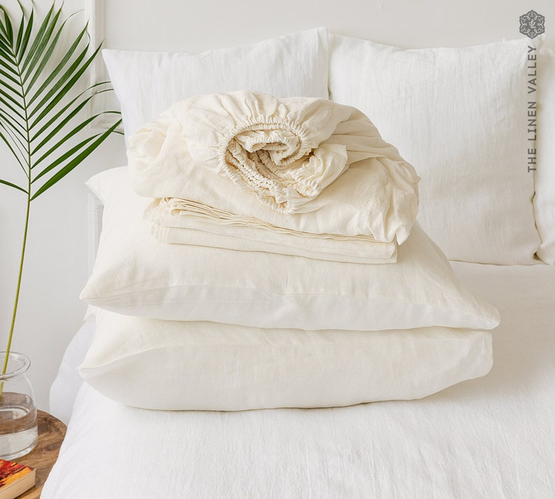 OFF WHITE set of linen sheets  Ivory white 4 pieces linen bed image 0