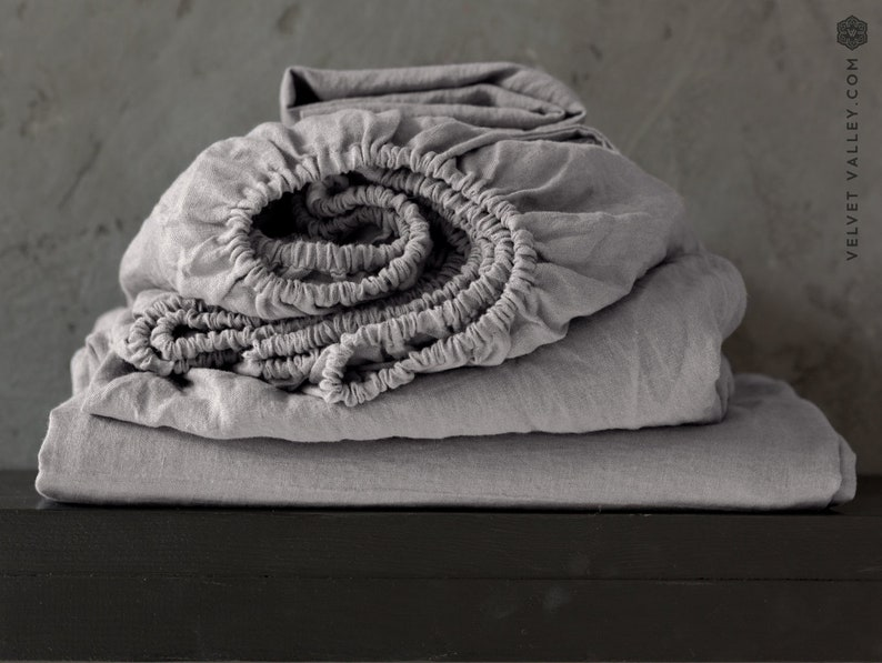 Charcoal grey set of linen sheets 4 pieces linen bed sheet image 0