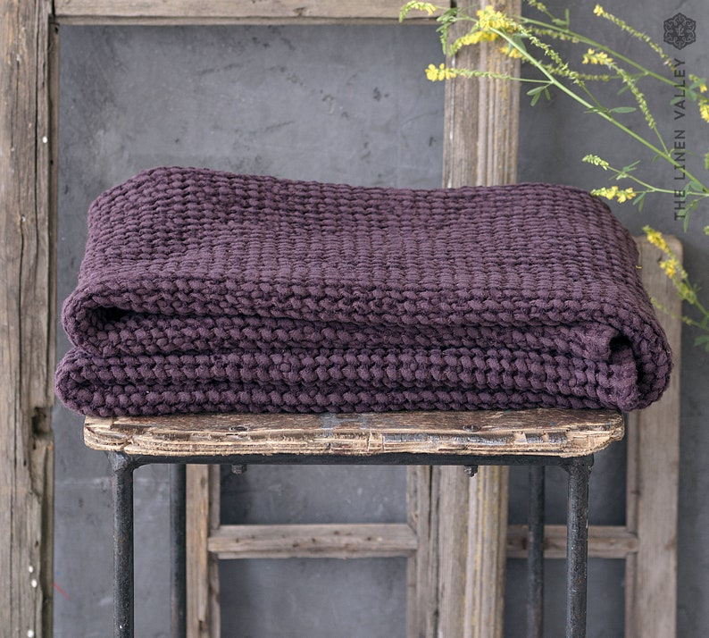 Special offer 2 set of BURGUNDY RED red linen towel. Size 12 image 1